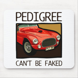 Race car pedigree, red classic sports car mouse pad