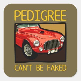 Race car pedigree, red classic sports car square sticker