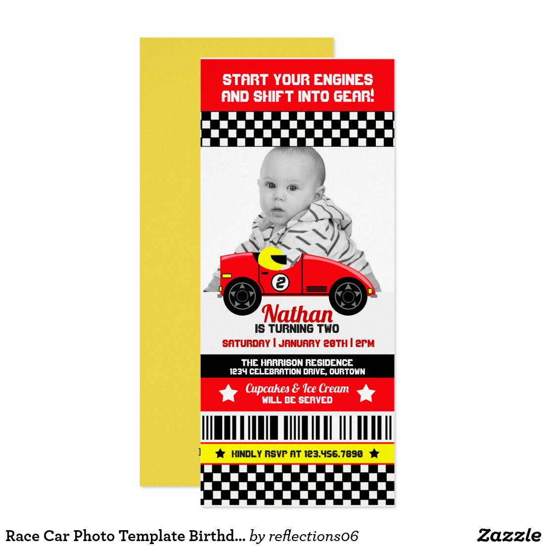 Race Car Photo Template Birthday Party Invitation