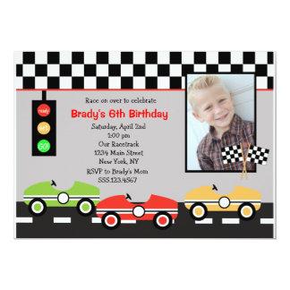 "Race Car Racecar Brithday Boys Birthday Invitation 5"" X 7"" Invitation Card"