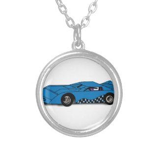 Race Car Round Pendant Necklace