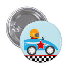 Race Car round pin button