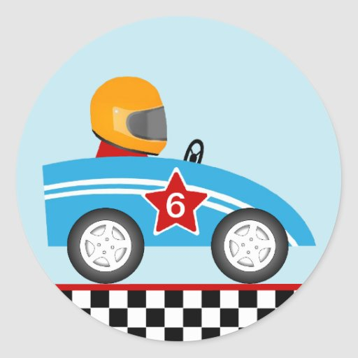 Race car round sticker customize | Zazzle