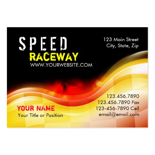 Race Car Speed Flames on Fire Large Business Cards (Pack Of 100)