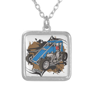 Race Car Square Pendant Necklace