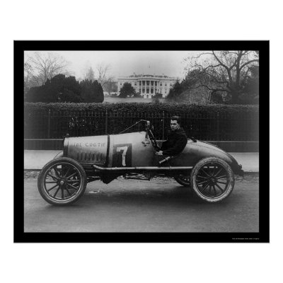 Auto Racing White on Race Car  The Cootie  At The White House 1922 Posters From Zazzle Com