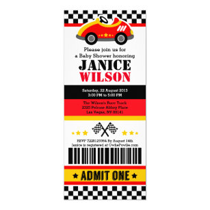 Race Car Ticket P Baby Shower Party Invitation