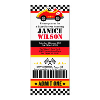 Race Car Ticket Pass Baby Shower Party Invitation
