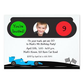 Race Car, Traffic Light Birthday Photo Invitation