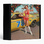 Race car trophy vintage pinup girl 3 ring binder