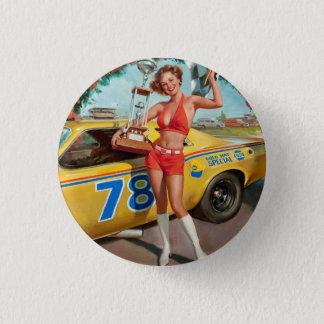 Race car trophy vintage pinup girl button