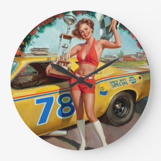 Race car pinup girl large clock