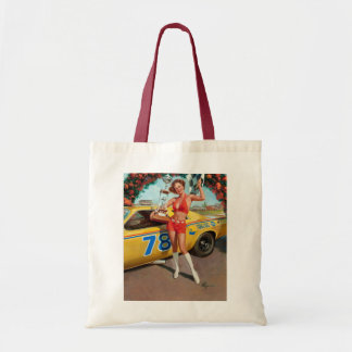 Race car trophy vintage pinup girl tote bag