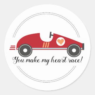 Race Car Valentine Sticker | Love Quote