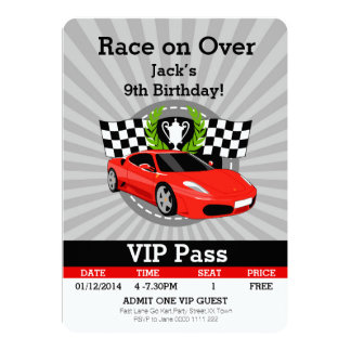Race Car VIP Pass Birthday invitation! Card