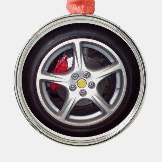 Race Car Wheel Round Metal Christmas Ornament