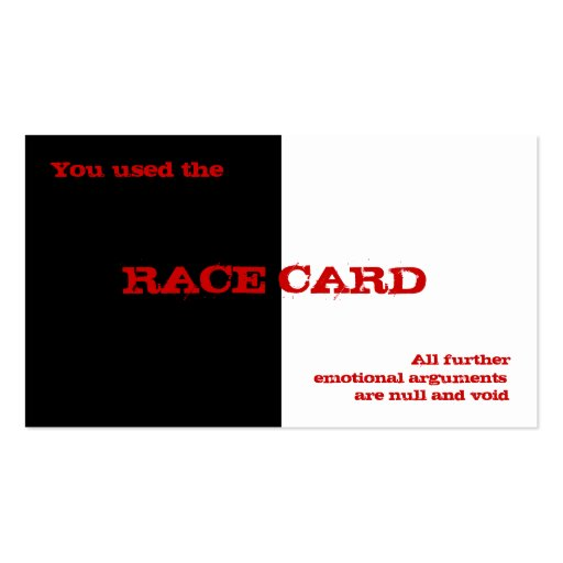 Race Card Double-Sided Standard Business Cards (Pack Of 100)