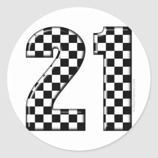 race care number 21 classic round sticker