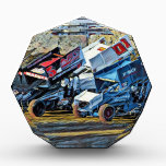 """Race Cars Acrylic Award<br><div class=""""desc"""">I captured this images of three cars mid-race while at Ocean Speedway. I digitally altered the image to make it look more like a painting.</div>"""