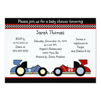 Race Cars Baby Shower/BirthdayInvitations Card