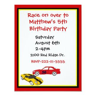 Race Cars Boy's Birthday Invitation