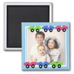 Race Cars/ Photo 2 Inch Square Magnet