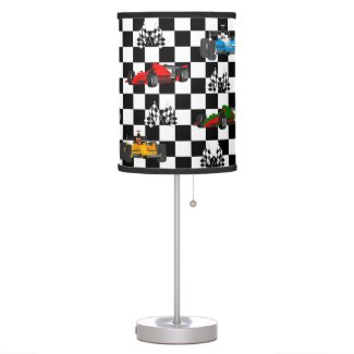 Race Cars Flags and Checkered Table Lamp