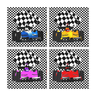 Race Cars with Checkered Flags Canvas Print
