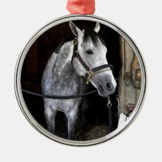 Race Day Round Metal Christmas Ornament