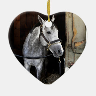 Race Day Double-Sided Heart Ceramic Christmas Ornament