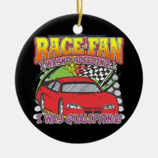 Race Fan Qualifying Ceramic Ornament