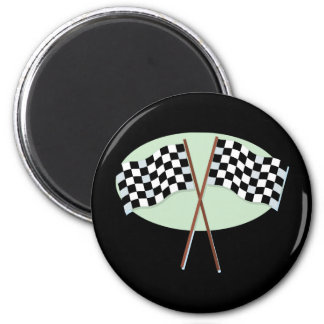 Race Flags Crossed 2 Inch Round Magnet