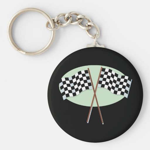 Race Flags Crossed Keychains