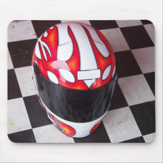 Race Helmet on Checkered Flag Mouse Pad