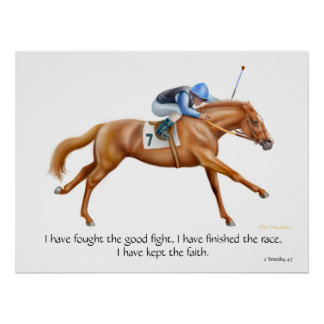 Race Horse 2 Timothy Inspirational Print