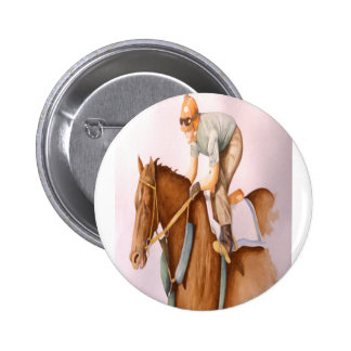 Race Horse and Jockey 2 Inch Round Button