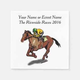 Race Horse and Jockey Custom Steeplechase Party Napkin