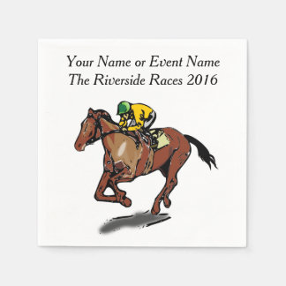 Race Horse and Jockey Custom Steeplechase Party Standard Cocktail Napkin