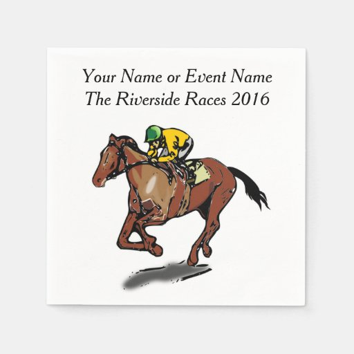 Race Horse and Jockey Custom Steeplechase Party Disposable Napkin
