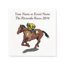 Race Horse and Jockey Custom Steplechase Party Napkins
