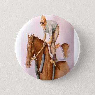 Race Horse and Jockey Pinback Button