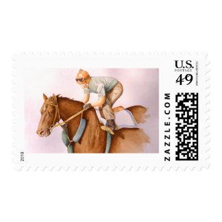 Race Horse and Jockey Postage