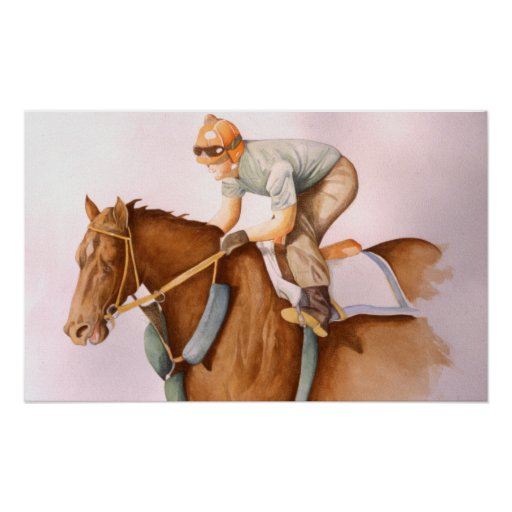 Race Horse and Jockey Poster