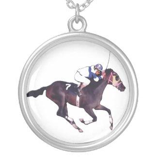 Race Horse and Jockey Round Pendant Necklace