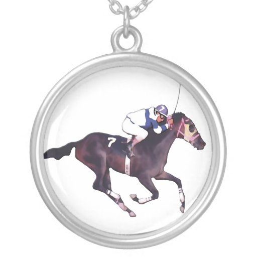 Race Horse and Jockey Round Pendant Necklace