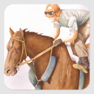 Race Horse and Jockey Square Sticker