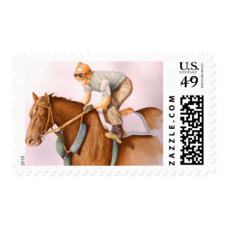 Race Horse and Jockey Stamp