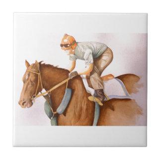 Race Horse and Jockey Ceramic Tile