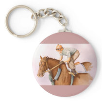 Race Horse and Jockey WaterColor Keychain
