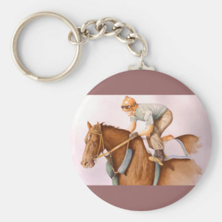 Race Horse and Jockey WaterColor Key Chain